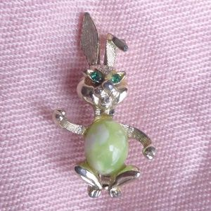 Vintage Gold Tone Jelly Belly Rabbit Brooch/Pin